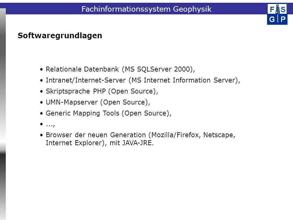 Fachinformationssystem Geophysik Relationale Datenbank (MS SQLServer 2000), Intranet/Internet-Server (MS Internet Information Server), Skriptsprache P