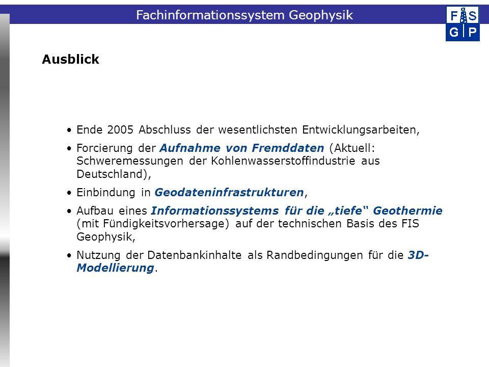Fachinformationssystem Geophysik Ende 2005 Abschluss der wesentlichsten Entwicklungsarbeiten, Forcierung der Aufnahme von Fremddaten (Aktuell: Schwere