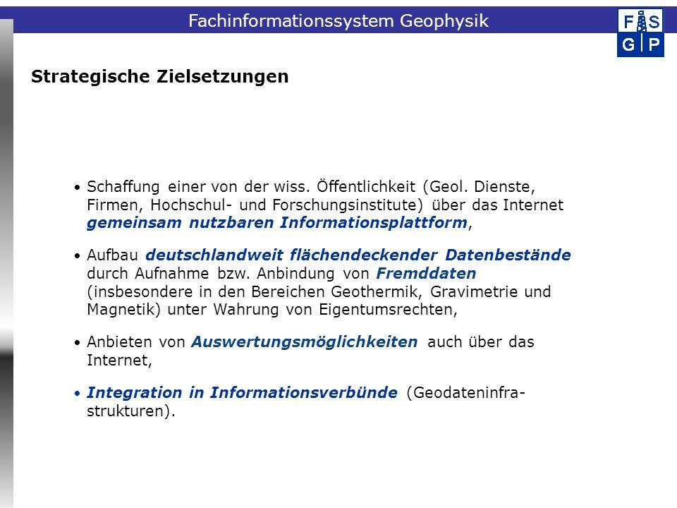 Fachinformationssystem Geophysik Strategische Zielsetzungen Schaffung einer von der wiss. Öffentlichkeit (Geol. Dienste, Firmen, Hochschul- und Forsch