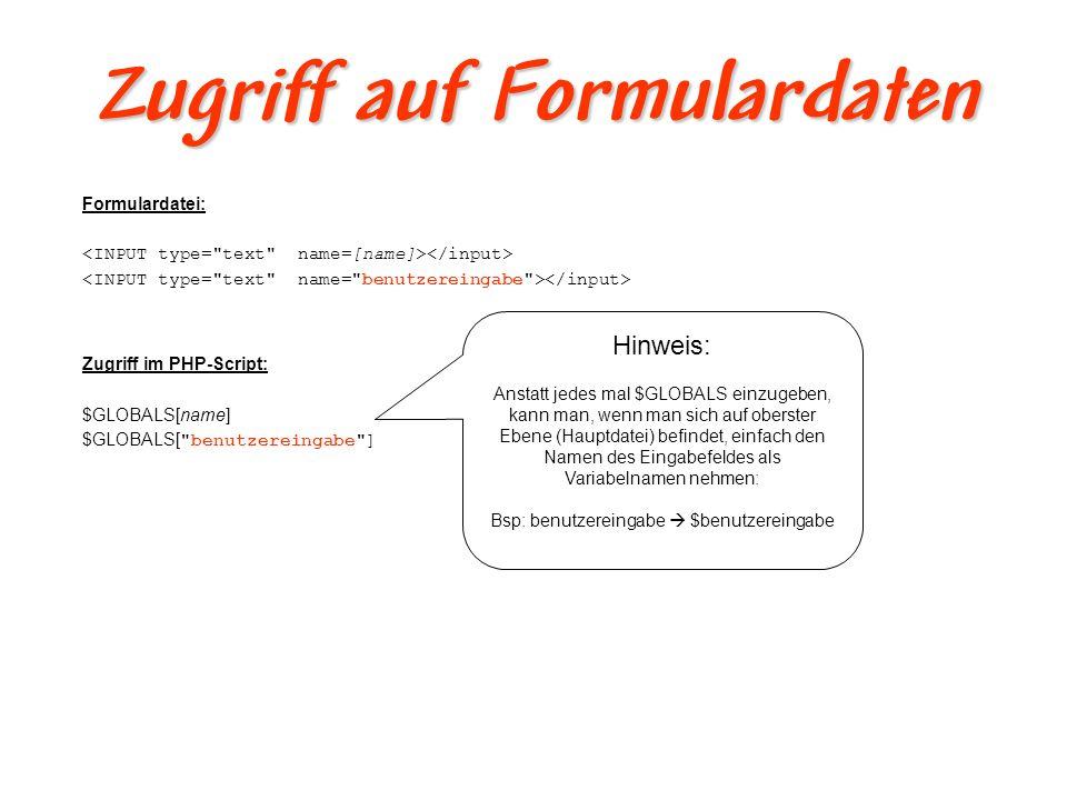 Formulardaten auswerten II Ein Beispiel 1: 2: 3: 4: Formular 5:...