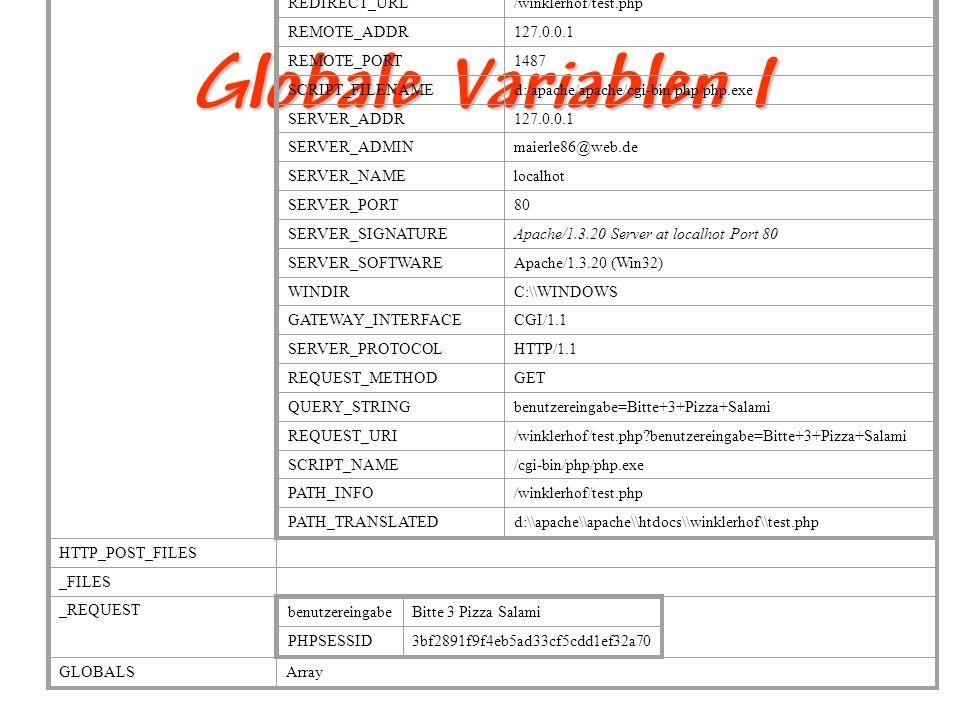Globale Variablen II