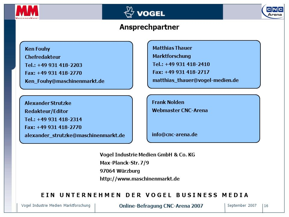 Vogel Industrie Medien Marktforschung Online-Befragung CNC-Arena 2007 September 2007 16 Vogel Industrie Medien GmbH & Co. KG Max-Planck-Str. 7/9 97064