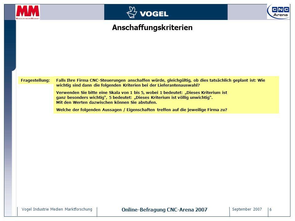 Vogel Industrie Medien Marktforschung Online-Befragung CNC-Arena 2007 September 2007 6 Anschaffungskriterien Falls Ihre Firma CNC-Steuerungen anschaff