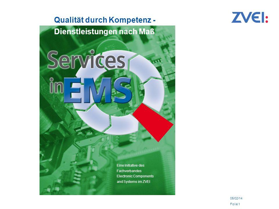 05/02/14 Folie 1 Qualität durch Kompetenz - Dienstleistungen nach Maß Eine Initiative des Fachverbandes Electronic Components and Systems im ZVEI