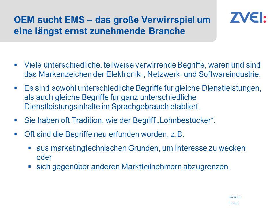 05/02/14 Folie 2 OEM sucht EMS – das große Verwirrspiel um eine längst ernst zunehmende Branche Viele unterschiedliche, teilweise verwirrende Begriffe, waren und sind das Markenzeichen der Elektronik-, Netzwerk- und Softwareindustrie.