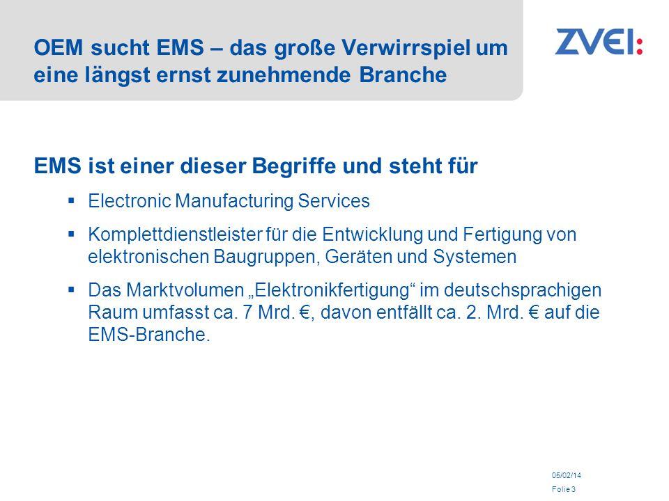 05/02/14 Folie 3 OEM sucht EMS – das große Verwirrspiel um eine längst ernst zunehmende Branche EMS ist einer dieser Begriffe und steht für Electronic