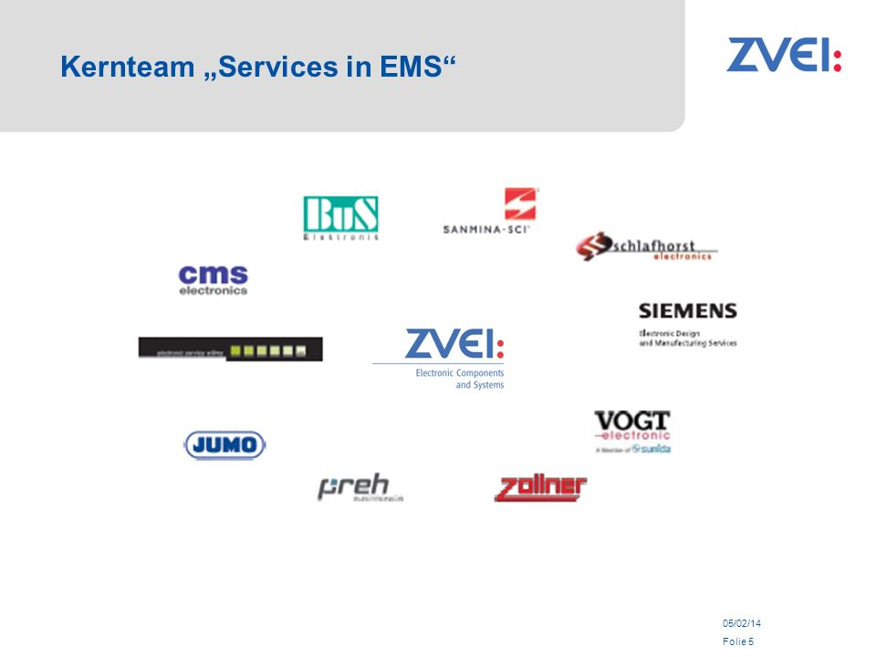 05/02/14 Folie 5 Kernteam Services in EMS