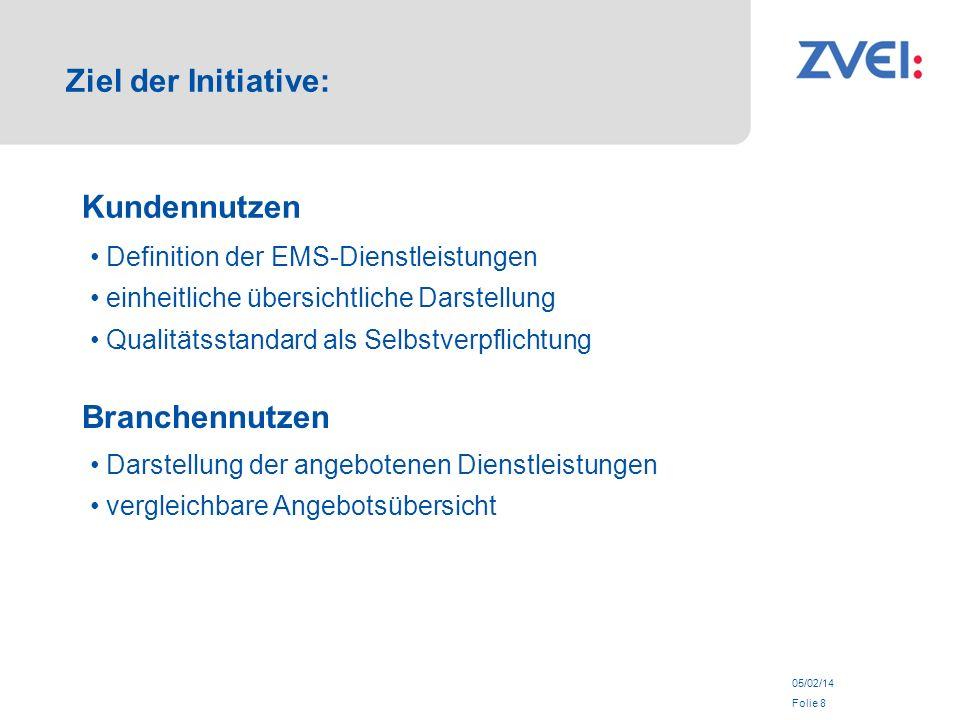 05/02/14 Folie 8 Ziel der Initiative: Kundennutzen Definition der EMS-Dienstleistungen einheitliche übersichtliche Darstellung Qualitätsstandard als Selbstverpflichtung Branchennutzen Darstellung der angebotenen Dienstleistungen vergleichbare Angebotsübersicht