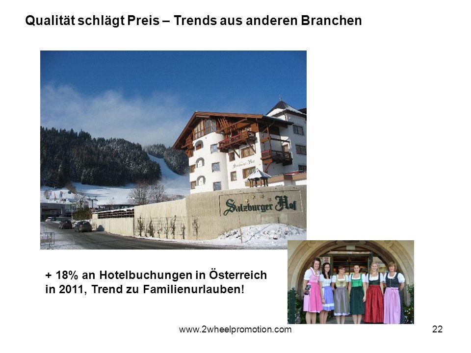 22 Qualität schlägt Preis – Trends aus anderen Branchen + 18% an Hotelbuchungen in Österreich in 2011, Trend zu Familienurlauben.