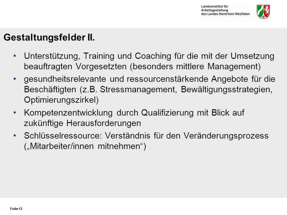 Folie 13 Gestaltungsfelder II. Unterstützung, Training und Coaching für die mit der Umsetzung beauftragten Vorgesetzten (besonders mittlere Management