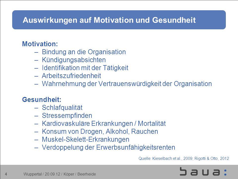 4 Wuppertal / 20.09.12 / Köper / Beerheide 4 Auswirkungen auf Motivation und Gesundheit Motivation: –Bindung an die Organisation –Kündigungsabsichten