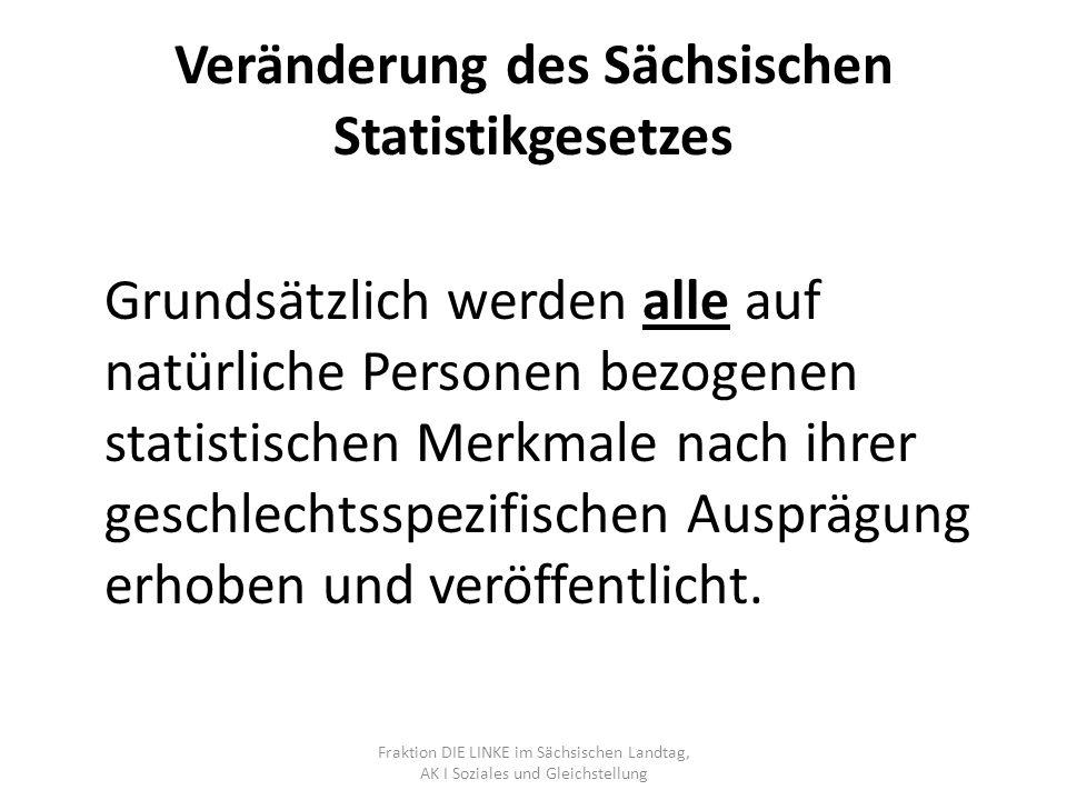 Veränderung des Sächsischen Statistikgesetzes Grundsätzlich werden alle auf natürliche Personen bezogenen statistischen Merkmale nach ihrer geschlechtsspezifischen Ausprägung erhoben und veröffentlicht.