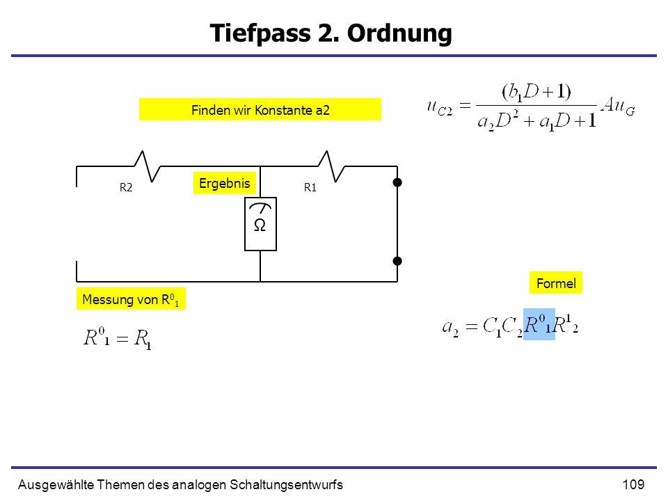 109Ausgewählte Themen des analogen Schaltungsentwurfs Tiefpass 2. Ordnung R1R2 Ω Messung von R 0 1 Formel Ergebnis Finden wir Konstante a2