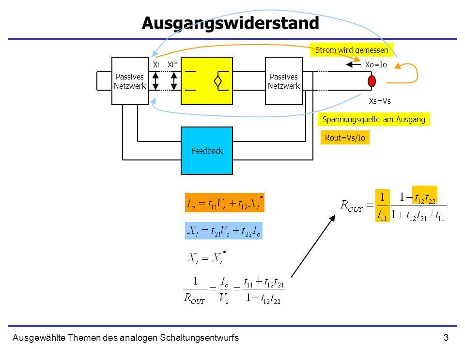 3Ausgewählte Themen des analogen Schaltungsentwurfs Ausgangswiderstand Passives Netzwerk Passives Netzwerk Feedback XiXi*Xo=Io Xs=Vs Rout=Vs/Io Spannu
