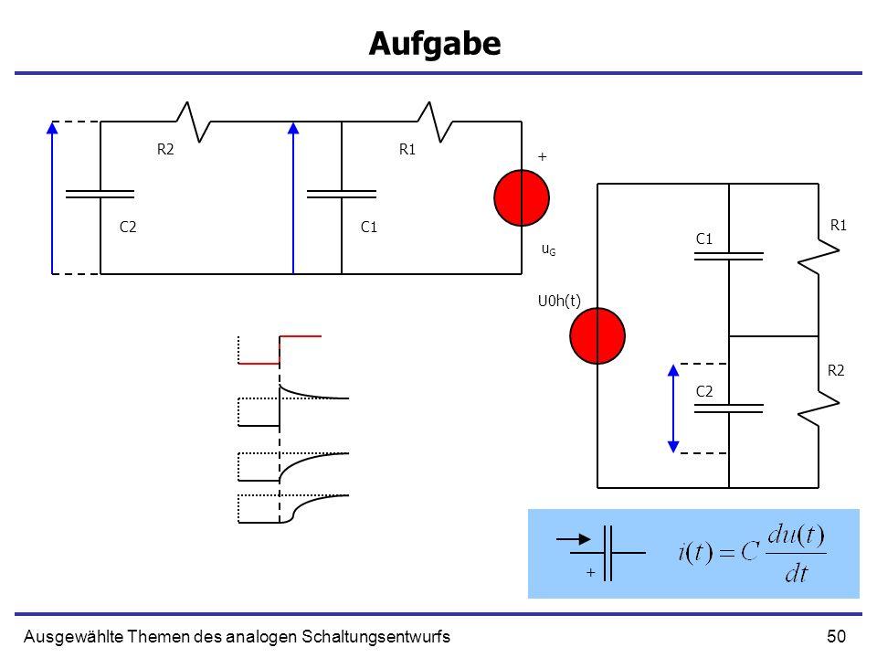 50Ausgewählte Themen des analogen Schaltungsentwurfs Aufgabe + C1 R1 uGuG C2 R2 + R1 R2 C1 C2 U0h(t)