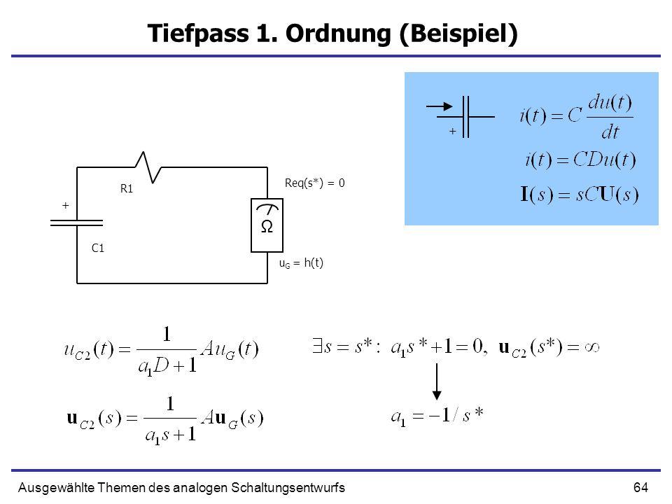 64Ausgewählte Themen des analogen Schaltungsentwurfs Tiefpass 1. Ordnung (Beispiel) C1 R1 + Ω Req(s*) = 0 u G = h(t) +