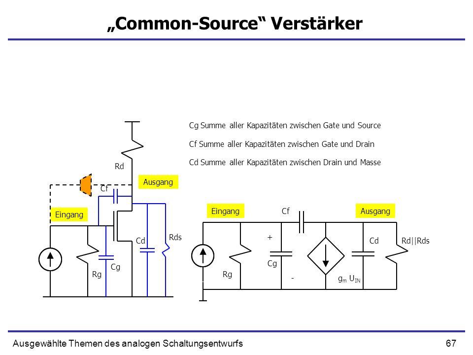 67Ausgewählte Themen des analogen Schaltungsentwurfs Common-Source Verstärker + g m U IN Cg Summe aller Kapazitäten zwischen Gate und Source Cf CdRd||