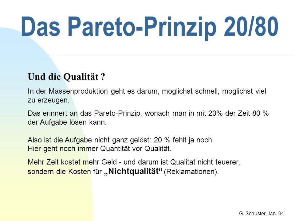 Das Pareto-Prinzip 20/80 G. Schuster, Jan. 04 Beispiel: Budget 90 % des Aufwandes für die Budgetkontrolle beziehen sich auf - 10 % des Budgets