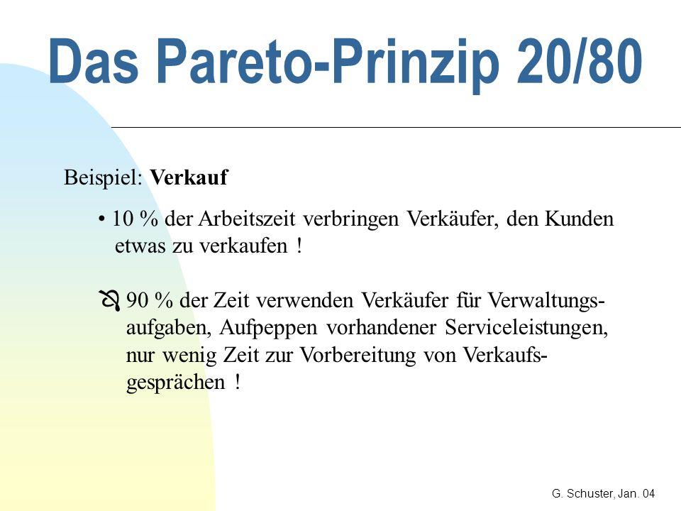 Das Pareto-Prinzip 20/80 G. Schuster, Jan. 04 Beispiel: Mitarbeiter 10% der Mitarbeiter verursachen 90% der Probleme ! 90% der Mitarbeiter verursachen