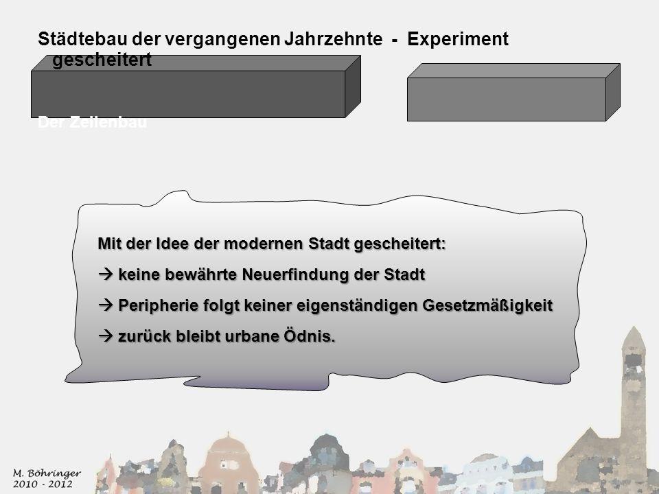 Städtebau der vergangenen Jahrzehnte - Experiment gescheitert Der Zeilenbau Mit der Idee der modernen Stadt gescheitert: keine bewährte Neuerfindung d