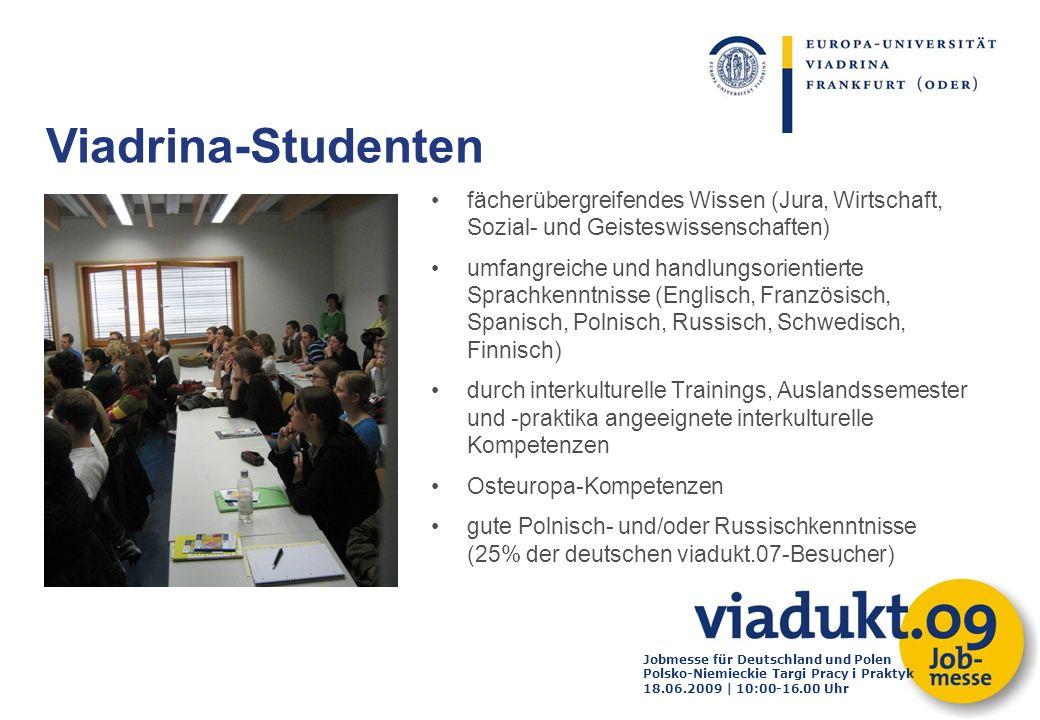 Jobmesse für Deutschland und Polen Polsko-Niemieckie Targi Pracy i Praktyk 18.06.2009 | 10:00-16.00 Uhr fächerübergreifendes Wissen (Jura, Wirtschaft,