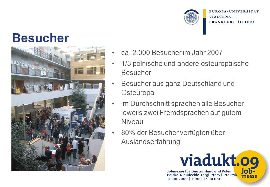 Jobmesse für Deutschland und Polen Polsko-Niemieckie Targi Pracy i Praktyk 18.06.2009 | 10:00-16.00 Uhr ca. 2.000 Besucher im Jahr 2007 1/3 polnische