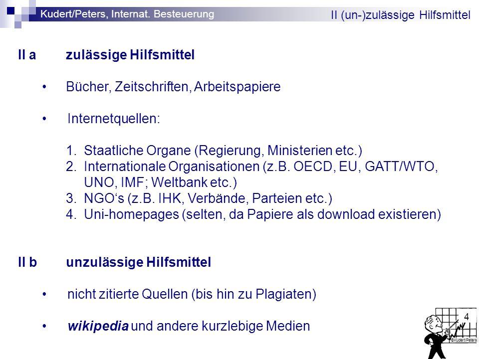 Kudert/Peters, Internat. Besteuerung ©Kudert/Peters 4 II (un-)zulässige Hilfsmittel II azulässige Hilfsmittel Bücher, Zeitschriften, Arbeitspapiere In
