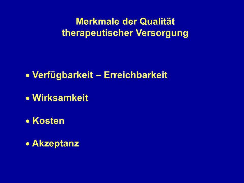 Merkmale der Qualität therapeutischer Versorgung Verfügbarkeit – Erreichbarkeit Wirksamkeit Kosten Akzeptanz
