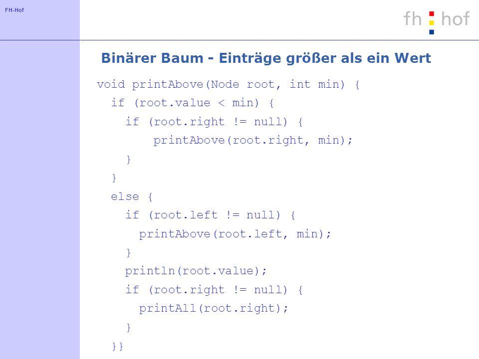 FH-Hof Binärer Baum - Einträge größer als ein Wert void printAbove(Node root, int min) { if (root.value < min) { if (root.right != null) { printAbove(root.right, min); } else { if (root.left != null) { printAbove(root.left, min); } println(root.value); if (root.right != null) { printAll(root.right); } }}