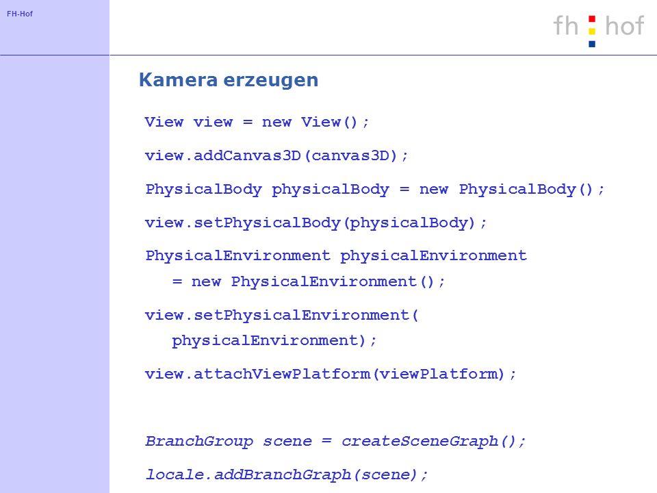 FH-Hof Klasse ViewingPlatform - Beschreibung Gruppe für Kamera mit ein oder mehreren Transformationsmatrizen (Transform3D) Gruppe kann Geometrie für die Kamera enthalten Zuordnung von ViewPlatformBehavior möglich Codebeispiel