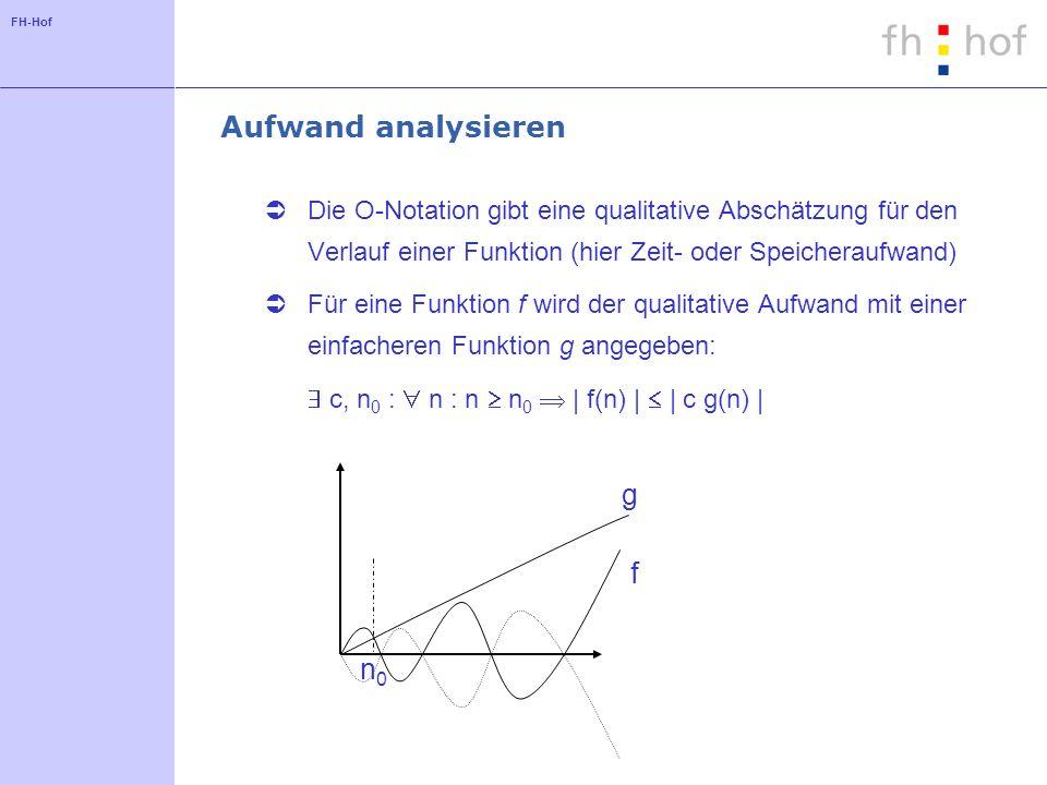 FH-Hof Aufwand analysieren Die O-Notation gibt eine qualitative Abschätzung für den Verlauf einer Funktion (hier Zeit- oder Speicheraufwand) Für eine Funktion f wird der qualitative Aufwand mit einer einfacheren Funktion g angegeben: c, n 0 : n : n n 0 | f(n) | | c g(n) | f g n0n0