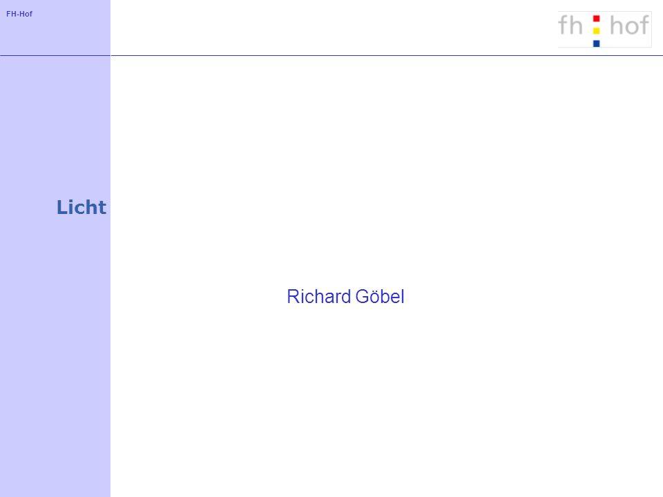 FH-Hof Licht in Java3D - Basisideen Bereitstellung unterschiedlicher Lichtquellen Definition der Wirkung einer Beleuchtung auf Objekte durch Material-Objekte für Appearances Berechnung der wahrgenommenen Farbe in Abhängigkeit von: der Farbe der Oberfläche der Farbe des Lichts Positionen von Lichtquelle, Objekt und Beobachter
