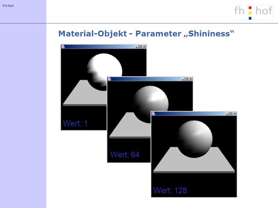 FH-Hof Material-Objekt - Parameter Shininess Wert: 1 Wert: 64 Wert: 128