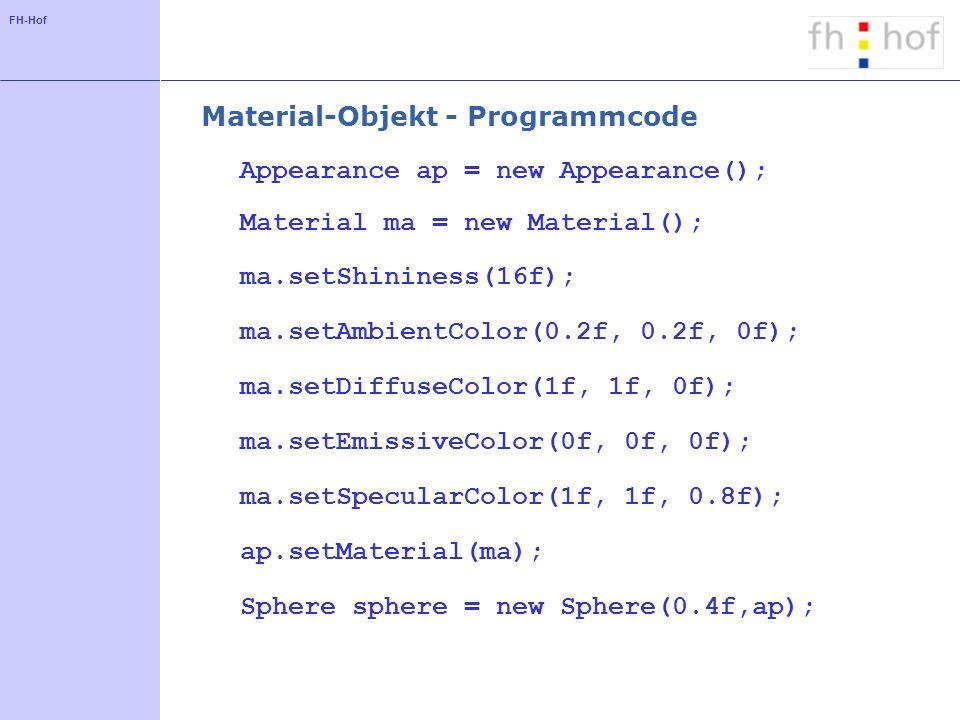 FH-Hof Material-Objekt - Programmcode Appearance ap = new Appearance(); Material ma = new Material(); ma.setShininess(16f); ma.setAmbientColor(0.2f, 0.2f, 0f); ma.setDiffuseColor(1f, 1f, 0f); ma.setEmissiveColor(0f, 0f, 0f); ma.setSpecularColor(1f, 1f, 0.8f); ap.setMaterial(ma); Sphere sphere = new Sphere(0.4f,ap);