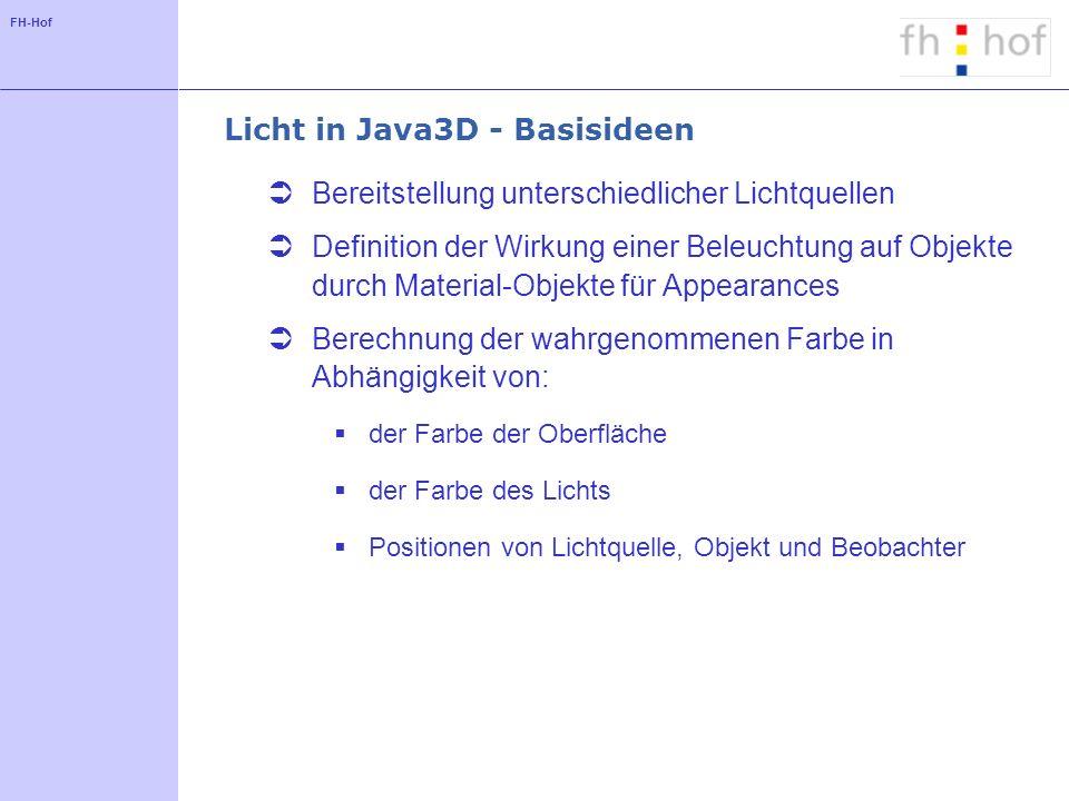 FH-Hof Registrieren von Objekten - Code DirectionalLight dirLight = new DirectionalLight(...