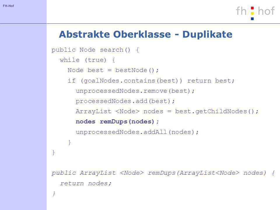 FH-Hof Abstrakte Oberklasse - Duplikate public Node search() { while (true) { Node best = bestNode(); if (goalNodes.contains(best)) return best; unpro