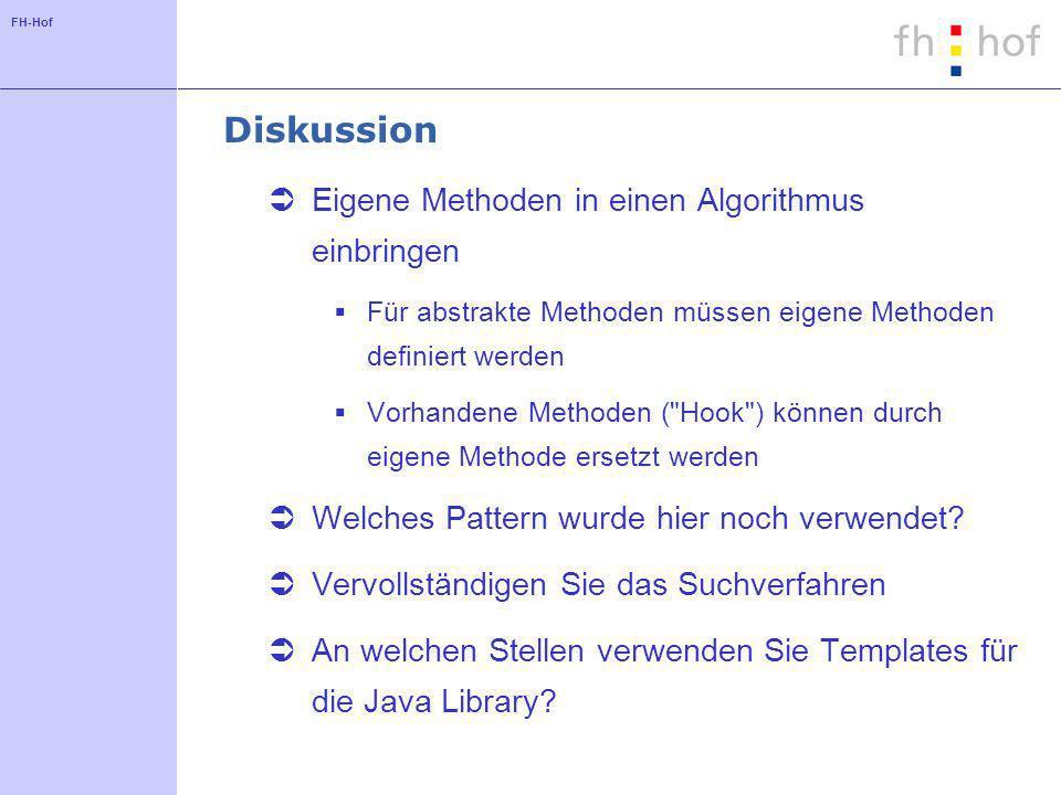 FH-Hof Diskussion Eigene Methoden in einen Algorithmus einbringen Für abstrakte Methoden müssen eigene Methoden definiert werden Vorhandene Methoden (