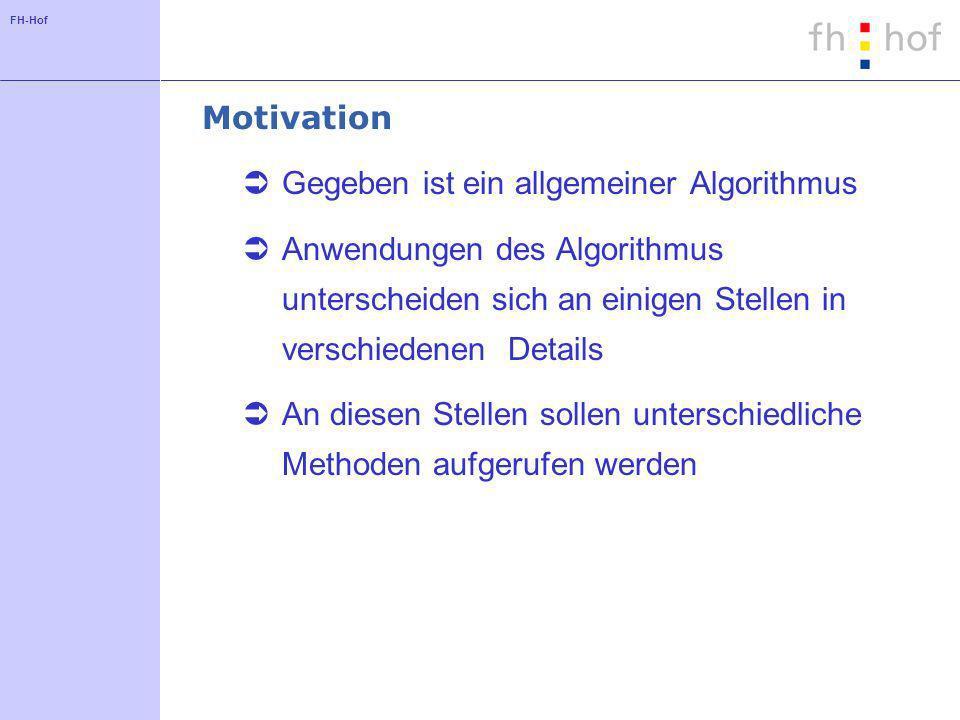 FH-Hof Motivation Gegeben ist ein allgemeiner Algorithmus Anwendungen des Algorithmus unterscheiden sich an einigen Stellen in verschiedenen Details A
