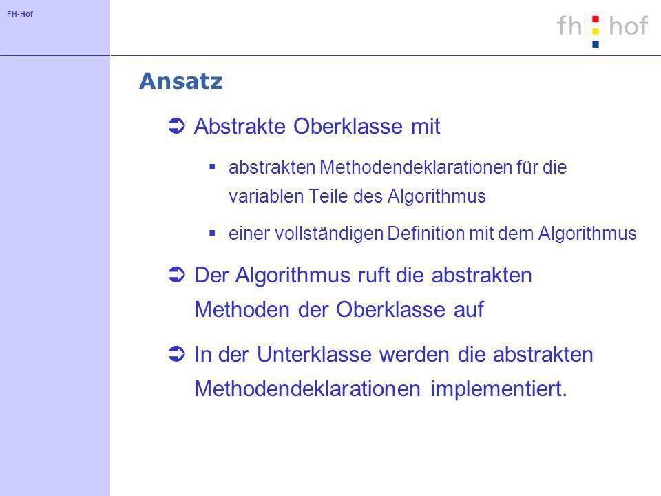 FH-Hof Abstrakter Ansatz AbstractClass op1() op2() … algorithmTemplate() ConcreteClass op1() op2() … op1() … op2() …