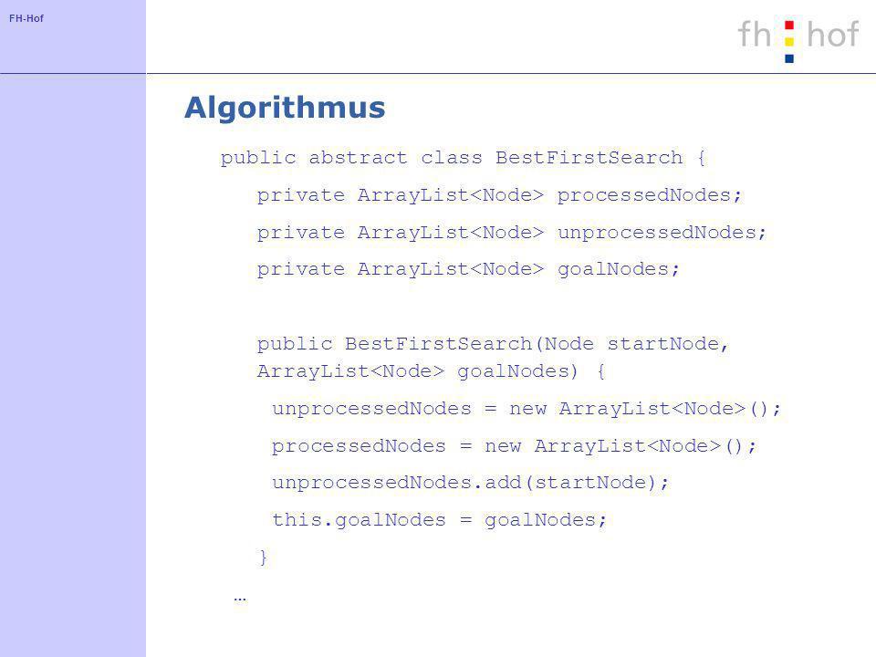 FH-Hof Algorithmus public abstract class BestFirstSearch { … abstract Node bestNode(); public Node search() { while (true) { Node best = bestNode(); if (goalNodes.contains(best)) return best; unprocessedNodes.remove(best); processedNodes.add(best); unprocessedNodes.addAll(best.getChildNodes()); }