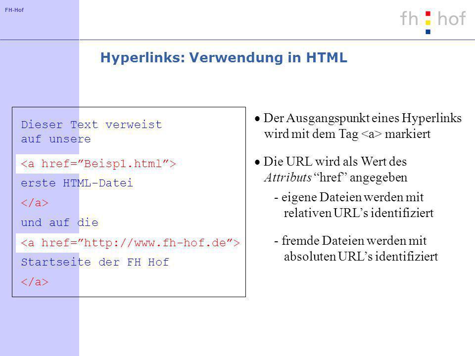 FH-Hof Dieser Text verweist auf unsere erste HTML-Datei und auf die Startseite der FH Hof Hyperlinks: Verwendung in HTML Der Ausgangspunkt eines Hyperlinks wird mit dem Tag markiert Die URL wird als Wert des Attributs href angegeben - eigene Dateien werden mit relativen URLs identifiziert - fremde Dateien werden mit absoluten URLs identifiziert