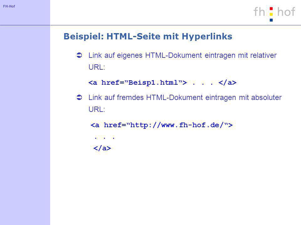 FH-Hof Beispiel: HTML-Seite mit Hyperlinks Link auf eigenes HTML-Dokument eintragen mit relativer URL:... Link auf fremdes HTML-Dokument eintragen mit