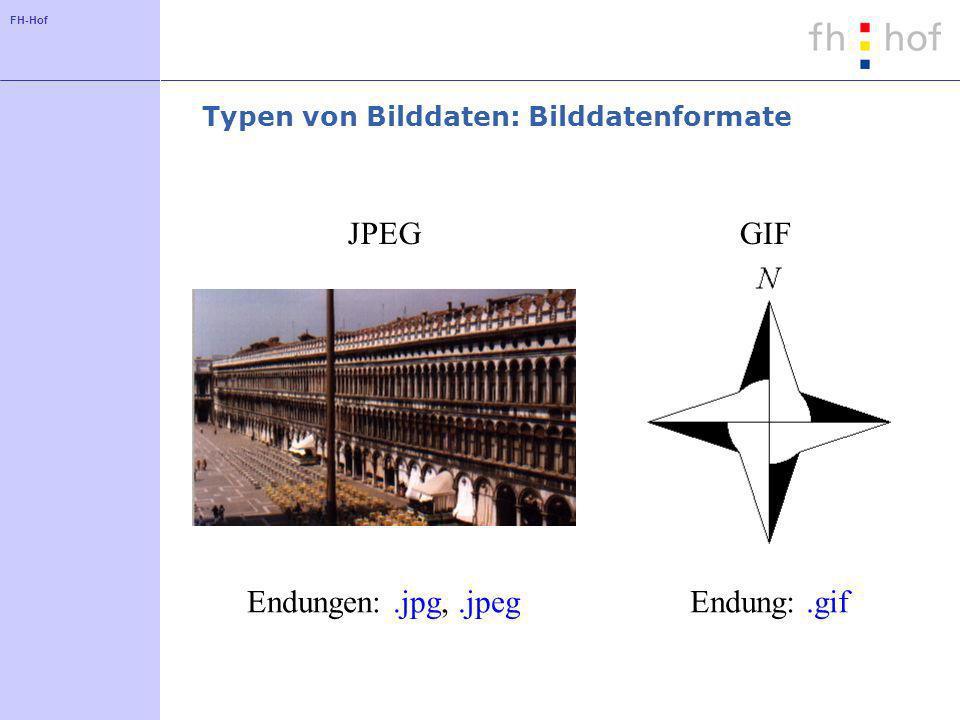 FH-Hof Typen von Bilddaten: Bilddatenformate JPEGGIF Endungen:.jpg,.jpegEndung:.gif