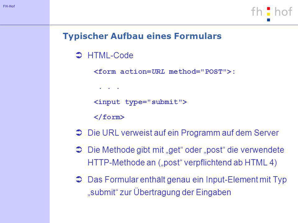 FH-Hof Typischer Aufbau eines Formulars HTML-Code :... Die URL verweist auf ein Programm auf dem Server Die Methode gibt mit get oder post die verwend