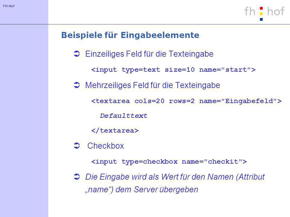 FH-Hof Beispiele für Eingabeelemente Einzeiliges Feld für die Texteingabe Mehrzeiliges Feld für die Texteingabe Defaulttext Checkbox Die Eingabe wird als Wert für den Namen (Attribut name) dem Server übergeben