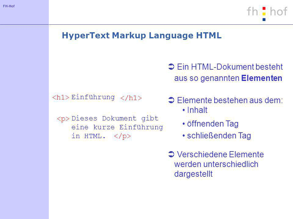 FH-Hof schließenden Tag öffnenden Tag HyperText Markup Language HTML Ein HTML-Dokument besteht aus so genannten Elementen Einführung Dieses Dokument gibt eine kurze Einführung in HTML.