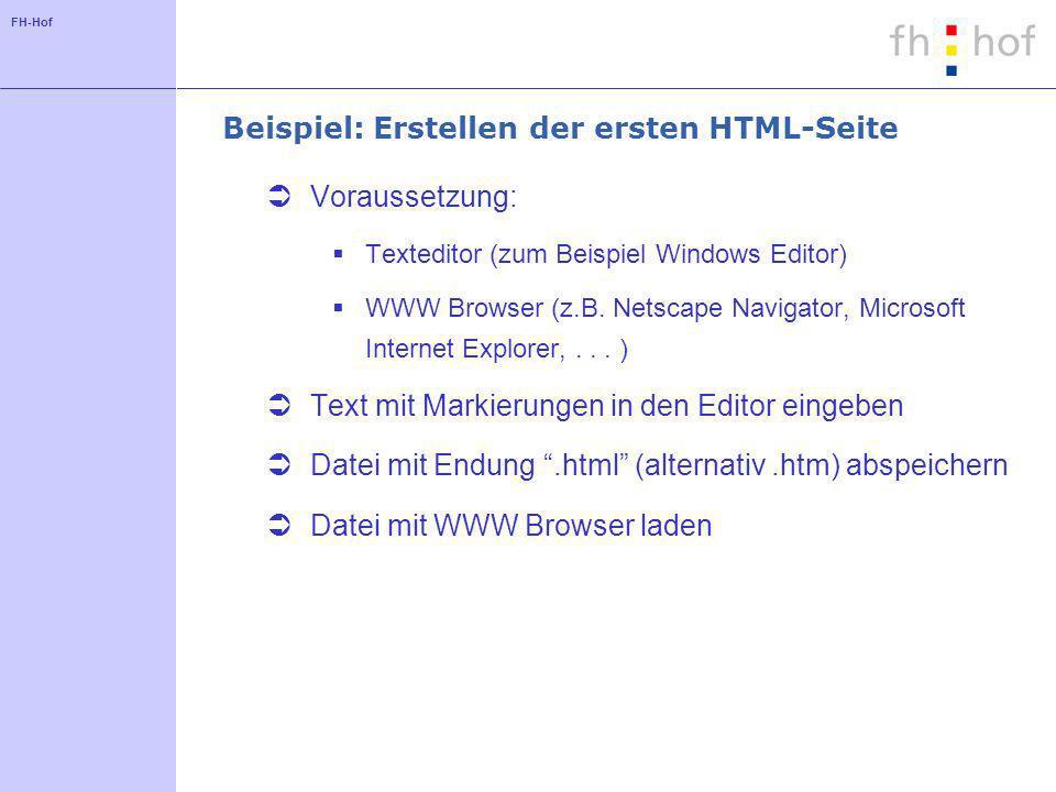 FH-Hof Beispiel: Erstellen der ersten HTML-Seite Voraussetzung: Texteditor (zum Beispiel Windows Editor) WWW Browser (z.B. Netscape Navigator, Microso