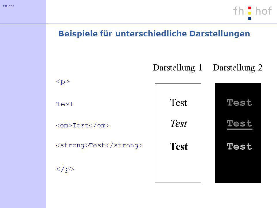 FH-Hof Beispiele für unterschiedliche Darstellungen Test Test Test Test Test Darstellung 1Darstellung 2