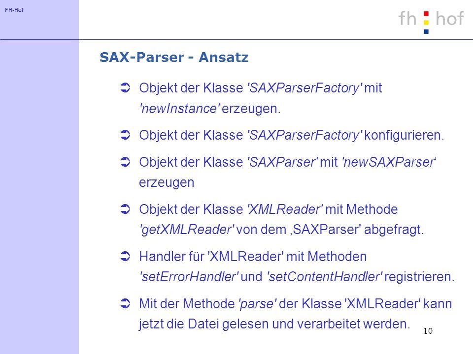 FH-Hof 10 SAX-Parser - Ansatz Objekt der Klasse SAXParserFactory mit newInstance erzeugen.