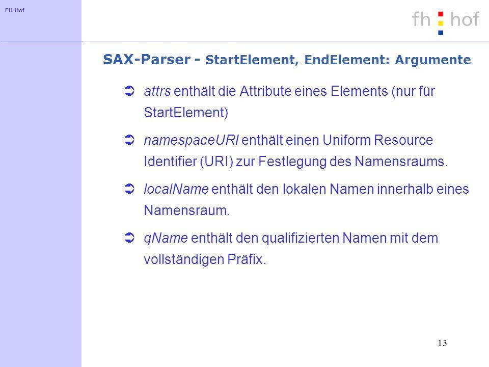 FH-Hof 13 SAX-Parser - StartElement, EndElement: Argumente attrs enthält die Attribute eines Elements (nur für StartElement) namespaceURI enthält einen Uniform Resource Identifier (URI) zur Festlegung des Namensraums.